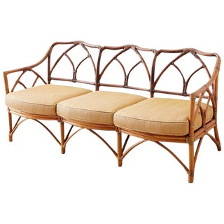McGuire Midcentury Organic Bamboo Rattan Sofa For Sale