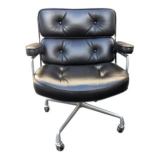 Eames Authentic Time-Life Black Leather Executive Chair For Sale