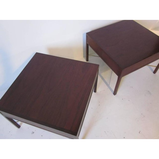 1950s Rosewood and Brass End Tables - a pair For Sale - Image 5 of 7