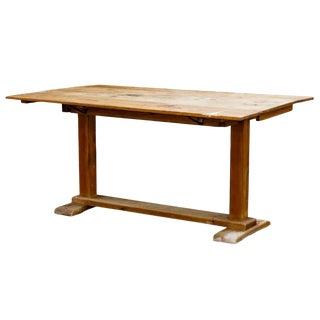 Rustic Pine Drop Leaf Trestle Farm Table For Sale