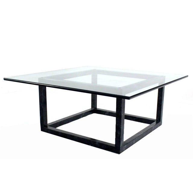 Early 20th Century Large Mid Century Modern Thick Glass Top Table Cube Shape Base For Sale - Image 5 of 7