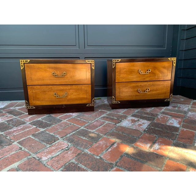 Bassett Asian Inspired Chinoiserie Nightstands - a Pair For Sale - Image 12 of 12