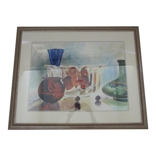 Framed Watercolor Still Life Painting of Vases and Fruit