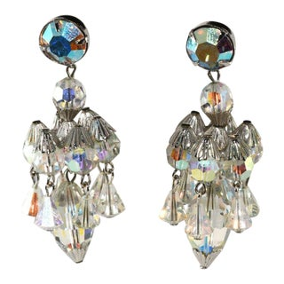 Hattie Carnegie Chandelier Dangle Crystal Earrings Vintage For Sale