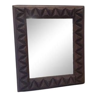Vintage Tramp Art Frame Mirror For Sale