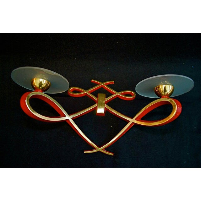 Mid-Century Modern French Sconces by Arlus - A Pair For Sale - Image 3 of 4