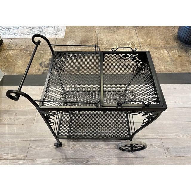 Metal Monochrome Black Floral Accent Bar Cart For Sale - Image 7 of 7