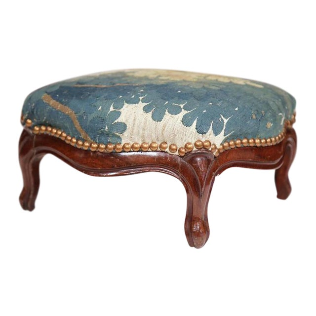 Mid-19th Century French Louis XV Carved Walnut Footstool For Sale