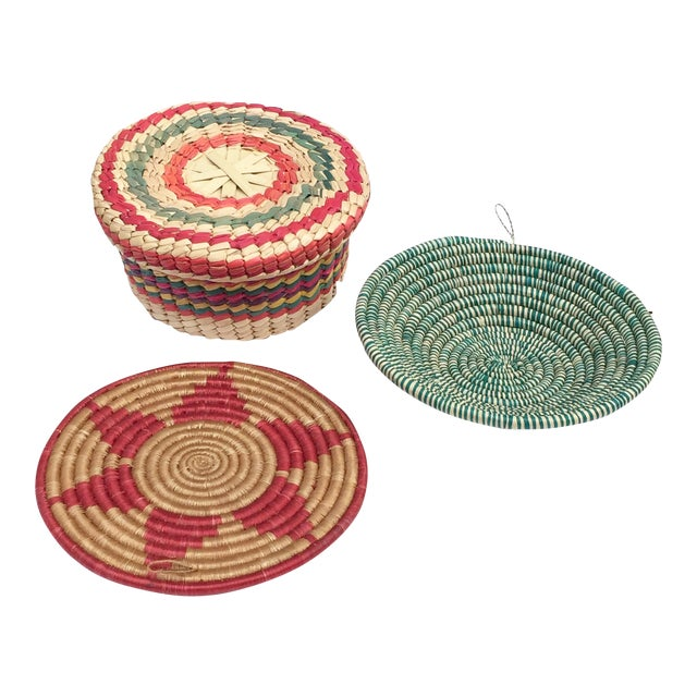 Multicolored Woven Baskets - Set of 3 For Sale