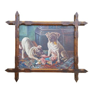 Vintage Pugs & Punch Oil Painting For Sale