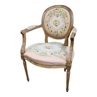Louis XVI Style Walnut Needlepoint Arm Chair For Sale