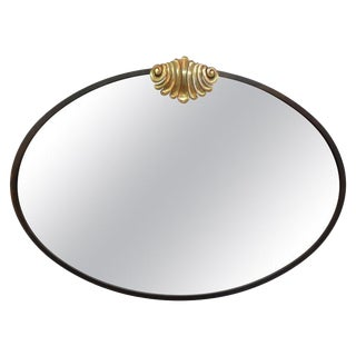 1980s Vintage Italian Neoclassical Style Oval Bronze Mirror With Shell Cartouche For Sale