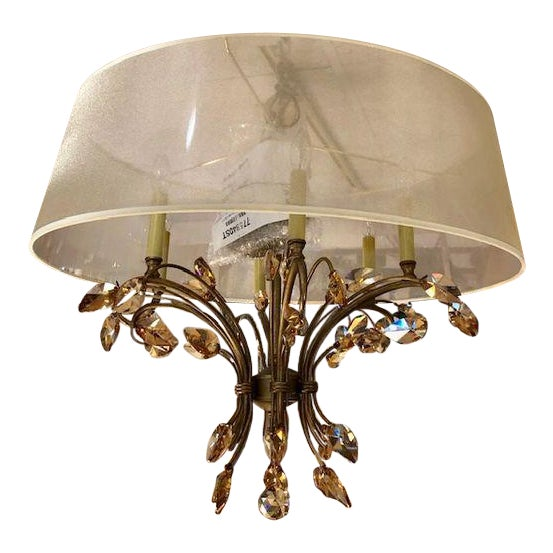 Bronze Chandelier With Amber Crystals and a Transparent Shade For Sale