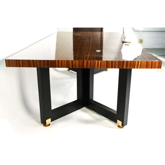 Lorin Marsh design smorgasbord dining table. New York, 2000s. Unsigned. Lacquered zebra-wood with enameled wood and brass....