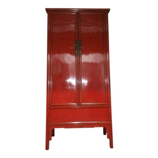 Antique Chinese Red Lacquer Tall Cabinet