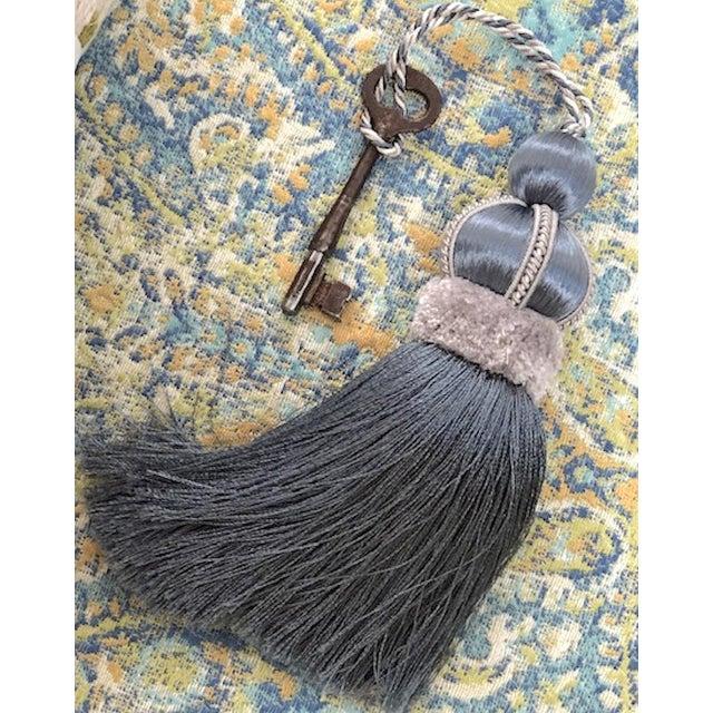 Blue Key Tassel With Cut Velvet Ruche For Sale In New York - Image 6 of 11