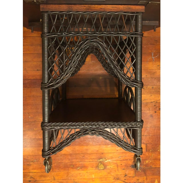 Late 19th Century 1890's Victorian Heywood Wakefield Wood Drop Leaf Tea Cart For Sale - Image 5 of 11