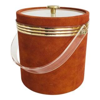 Vintage Rust Suede Ice Bucket For Sale