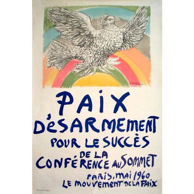 "Cubism PABLO PICASSO Paix Disarmement-Peace 47"" x 31.5"" Lithograph 1960 Cubism Multicolor, Gray Bird, Peace, Dove, Rainbow For Sale - Image 3 of 3"