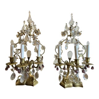 French Girandoles With Crystals and Amethyst Drops - a Pair For Sale