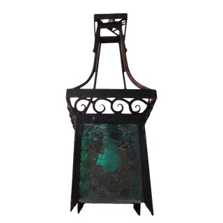 1920s French Art Deco Wrought Iron Lantern For Sale