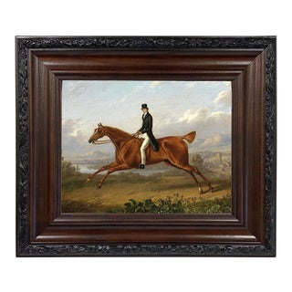 Contemporary Potrait of a Gentleman on a Chestnut Horse Print on Canvas After Charles Towne, Framed For Sale