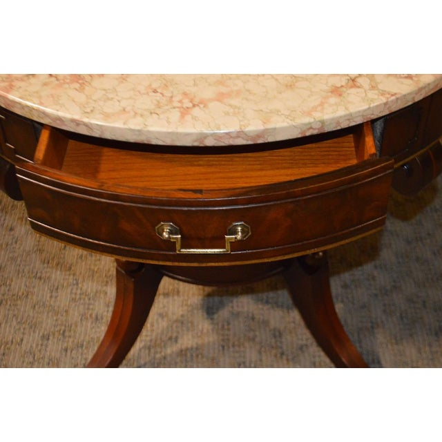 Mahogany Round Marble Top Table - Image 6 of 11