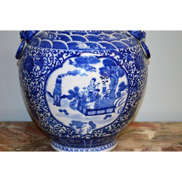 Large Blue & White Chinese Porcelain Vase with Figural Subjects and Foo Handles For Sale In Buffalo - Image 6 of 9