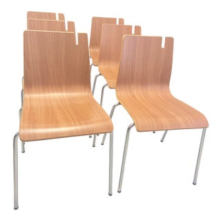 """Vintage Stackable Cafe """"Purse"""" Chairs - Set of 6 For Sale"""