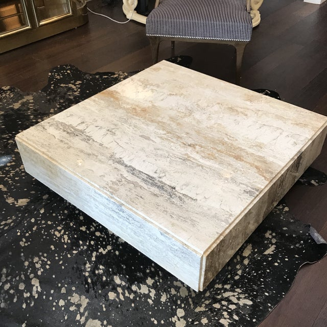 Gorgeous Plinth Travertine Cocktail Table in the Manner of Baughman For Sale - Image 9 of 9
