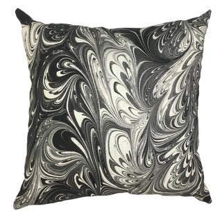 "Abstract Banksy Black Linen Pillow Cover - 22"" For Sale"