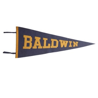 Vintage Baldwin Felt Flag Pennant