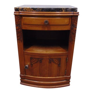 Early 20th Century Art Deco Carved Walnut Marble Top Nightstand For Sale