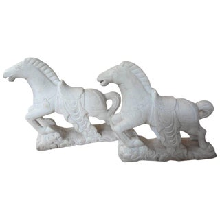 1920s Art Deco Carved Marble Horse Figurines - a Pair For Sale