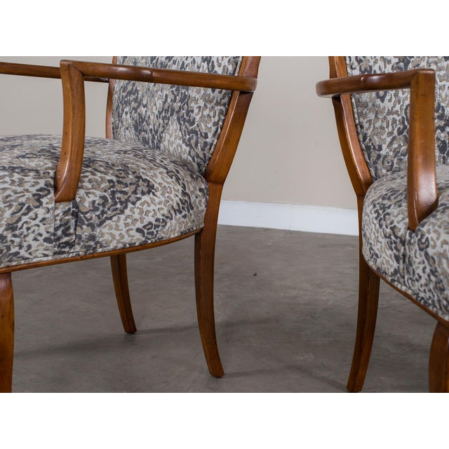 1940s Vintage French Art Deco Beechwood Chairs - a Pair For Sale - Image 4 of 11