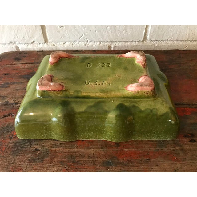 Ceramic Usa Pottery Green & Blue Shallow Planter For Sale - Image 7 of 9