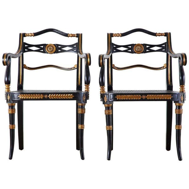 Pair of Regency Style Lacquered Armchairs by Theodore Alexander For Sale - Image 13 of 13