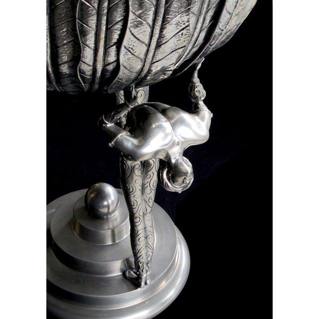 Early 21st Century A Stunningly Large Italian Art Deco Style Piero Figura Pewter Centerpiece Stamped 'Figura Piero Per Atena, Etain 95% For Sale - Image 5 of 9