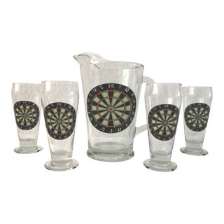 Dart Board Glass Beer Set - Set of 5 For Sale