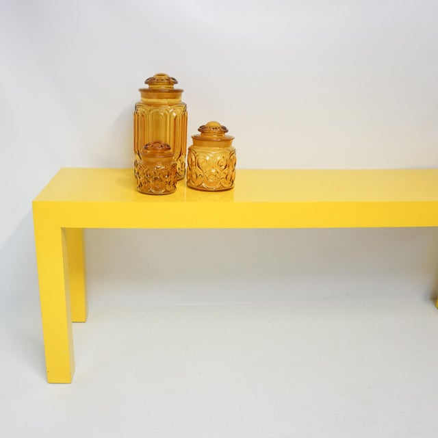 1970's Long Yellow Wooden Parsons Table - Image 4 of 7