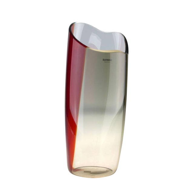 Original Alfredo Barbini Handblown Murano Glass Vase For Sale