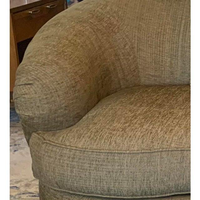 Wood Drexel Heritage Kidney Shape Olive-Green Curved Sofa For Sale - Image 7 of 12