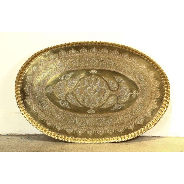 Brass Antique Middle Eastern Tray Inlaid With Islamic Writing in Silver and Copper For Sale - Image 7 of 7