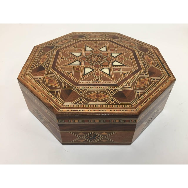 Middle Eastern Syrian Inlaid Marquetry Mosaic Octagonal Jewelry Box For Sale - Image 10 of 10