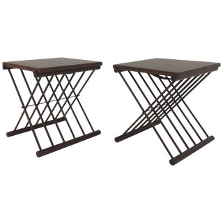 Chic Pair of Danish Folding Teak Tray Top Side Tables End Tables For Sale