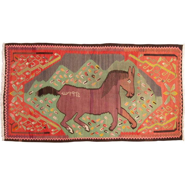 """Textile Traditional Colorful Pictorial Donkey Wool Kilim Rug-4'3x7'10"""" For Sale - Image 7 of 7"""