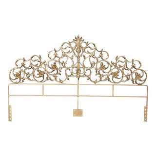 Vintage Gold Gilt Metal Hollywood Regency French Rococo Style King Headboard Bed For Sale