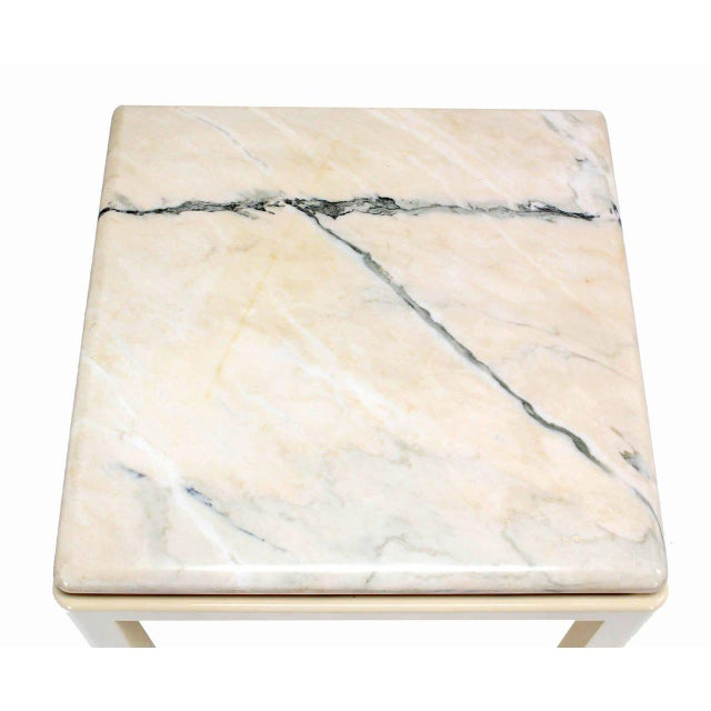 Modern 20th Century Modern Marble-Top and Enameled Metal Base Game/Dining Table For Sale - Image 3 of 11