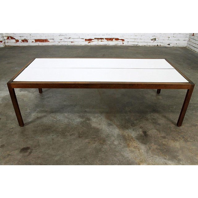 Mid-Century Modern Lewis Butler for Knoll Walnut & White Laminate Coffee Table For Sale - Image 3 of 11