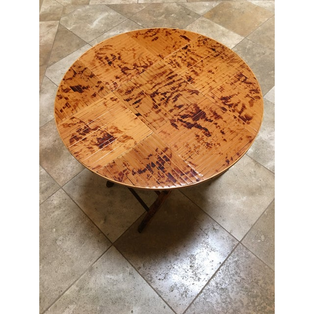Boho Chic Vintage Bamboo Round Folding Table For Sale - Image 3 of 5